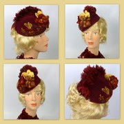 Wine Felt Pillbox Fascinator Hat