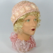 Baby Pink Woven Straw Cloche Hat