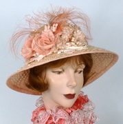 Peachy Pink Straw Kentucky Derby Hat