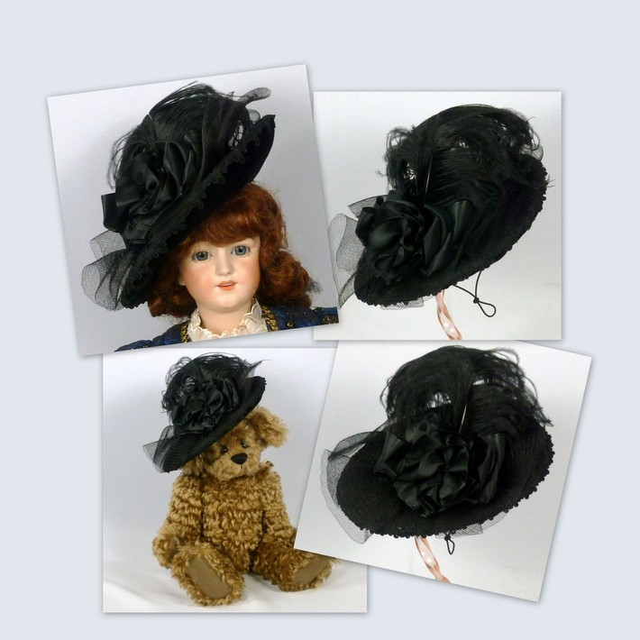 Doll or Teddy Bear Black Velvet & Crin Hat - Victorian Style