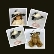 Doll or Teddy Bear Black and White Felt & Crin Hat