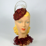 Maroon and Light Brown Fascinator Hat
