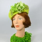 Chartreuse Tam Fascinator Hat- Vintage Velour Fur Felt
