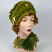 Patterned Fur Felt Cloche Hat - Shades of Green and Brown