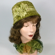 Green Strawbraid Cloche - Hand made and hand sewn