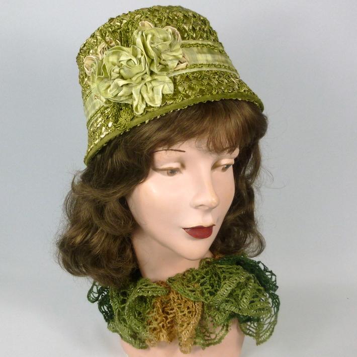 Green Strawbraid Cloche - Hand made and hand sewn