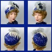 Bright Blue Cello Straw Hat