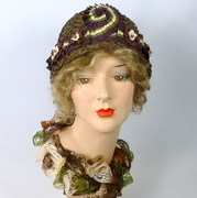 Brown Woven Straw Cloche Hat with Ribbon Work
