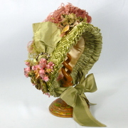 Pink and Green Reproduction Victorian Bonnet -Silk and Straw