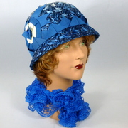Blue & White Woven Straw Cloche Hat - Ribbon Work Accents