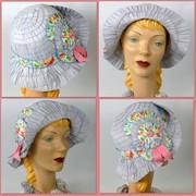 Light Blue Cloche Hat - Grosgrain Ribbon