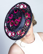Navy and fuschia lace boater