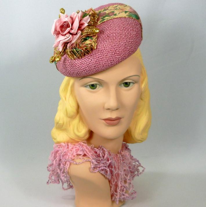 Pink Straw Tam Fascinator Hat