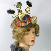 Hat Show - A Multicolored Felt Button Fascinator with 5 Miniature Hats