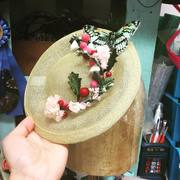 Small Saucer With Vintage Millinery Flowers