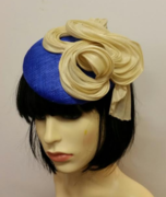 Royal & Beige Button fascinator