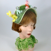 """Poodle Park"" -Green Straw Fascinator Headband - Vintage Chenille Poodle Dogs"