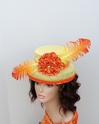 Orange and Yellow top hat fascinator