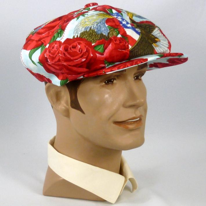 Patriotic Eagle & Roses Newsboy Style Cap Hat