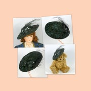 Doll or Teddy Bear Black Velvet and Sequined Hat - Victorian Style
