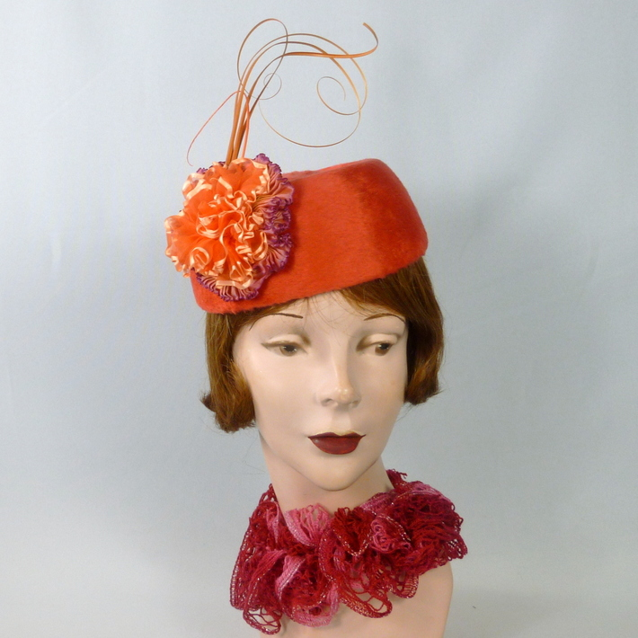 Pinkish Orange Pillbox Hat