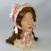 "Reproduction 1800s Victorian Bonnet Hat - ""HIGH NOON"""