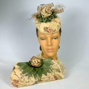 Patterned Suede Fabric Button Fascinator Hat with Matching Purse