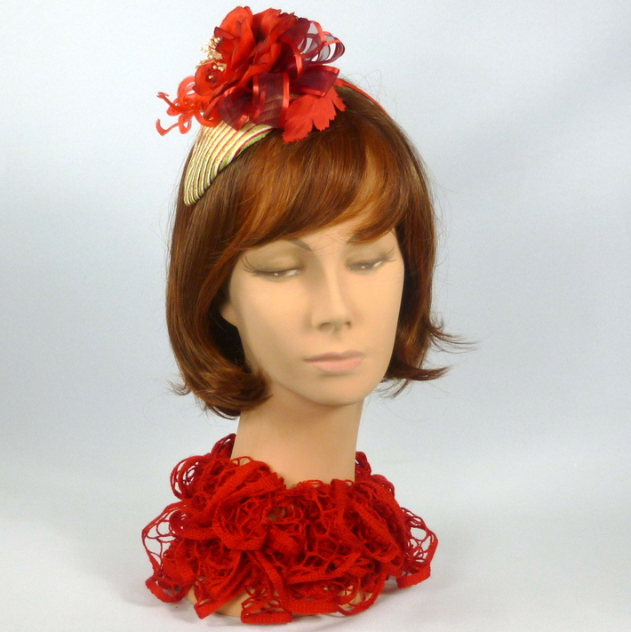 Striped Straw Fascinator Hat with Large Red Rose - Handmade Red Leaves & Flowers