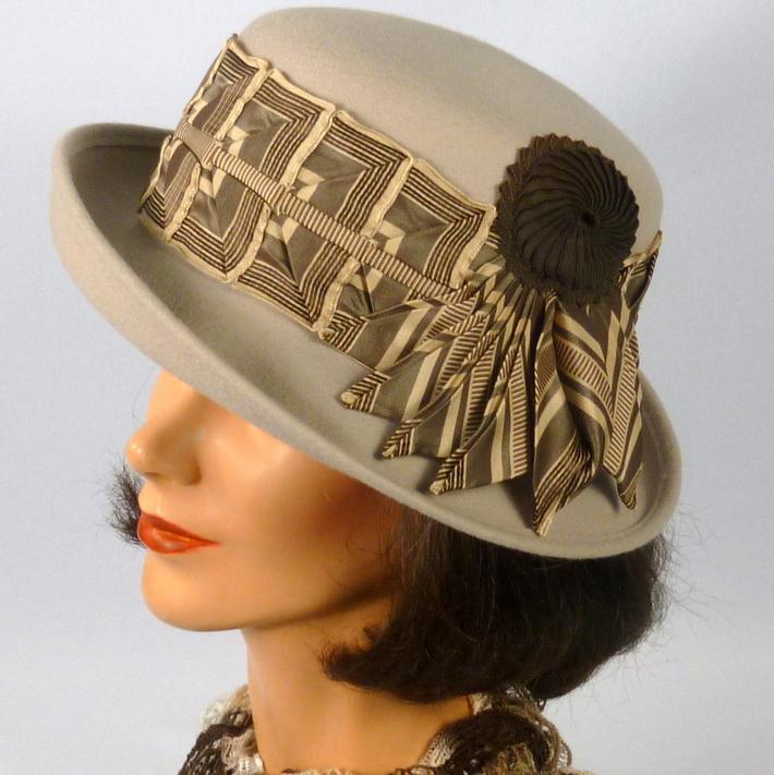 Tan, Beige, and Brown Wool Felt Hat with Fancy Ribbonwork -