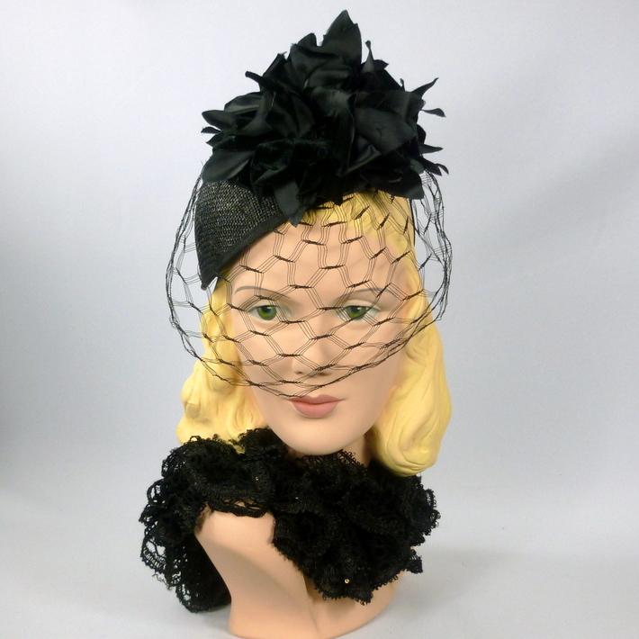 Black Flower and Veil Fascinator Cocktail Hat
