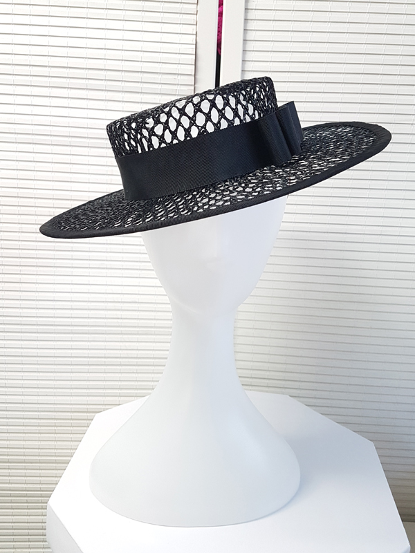 Black Mesh Boater Hat