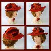 Reproduction Victorian Edwardian Hat-Vintage Straw & Silk Velvet