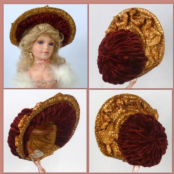 Reproduction Vintage Straw Doll Bonnet