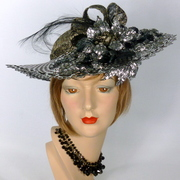 Black Silver and Gold Wide Brim Kentucky Derby Hat
