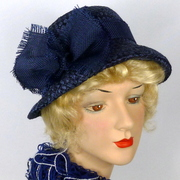 Deep Blue Woven Straw Hat - Vintage Swiss Straw Hood