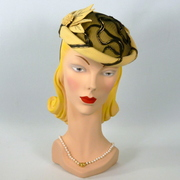 Yellow Felt and Black Lace Button Fascinator Hat