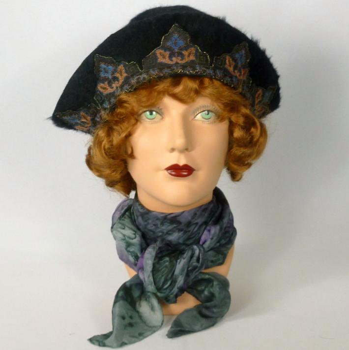 Black Fur Felt Cloche Hat
