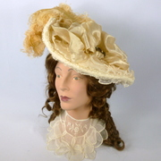 Reproduction Victorian Off White Picture Hat