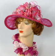 Shades of Pink Straw Kentucky Derby Hat