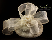 Ivory Sinamay Cocktail Hat with Chiffon Blossoms
