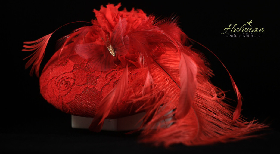 Scarlet Cocktail Hat with Ostrich Feather, Chiffon Blossoms and Organza Butterfly