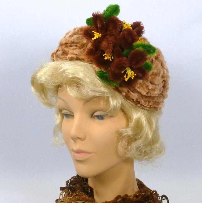 Brown chenille hat