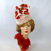 Red and White Pillbox Hat in Straw, Silk, & Satin - Kentucky Derby Run for the Roses