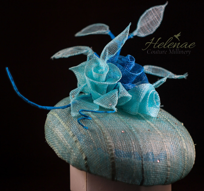 Mint and Pale Turquoise Sinamay Cocktail Hat with Swarovski Crystal Detail