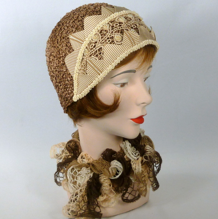 Dark Beige Color Straw Cloche Hat - Vintage Lace Accents - Ribbonwork
