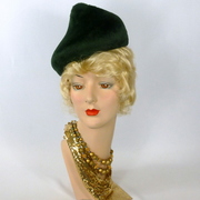 Elegant Deep Forest Green Felt Hat