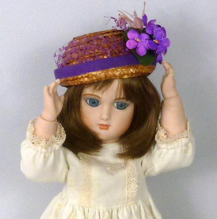 Reproduction Vintage Straw Doll Bowler Style Hat