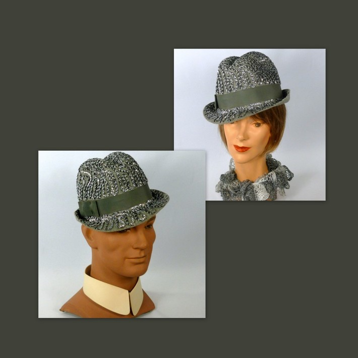 Unisex Gray Felt Sequined Fedora Hat