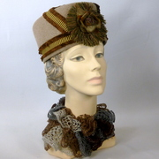 Repoduction 1918 Edwardian Victorian Military Style Hat in Tones of Brown
