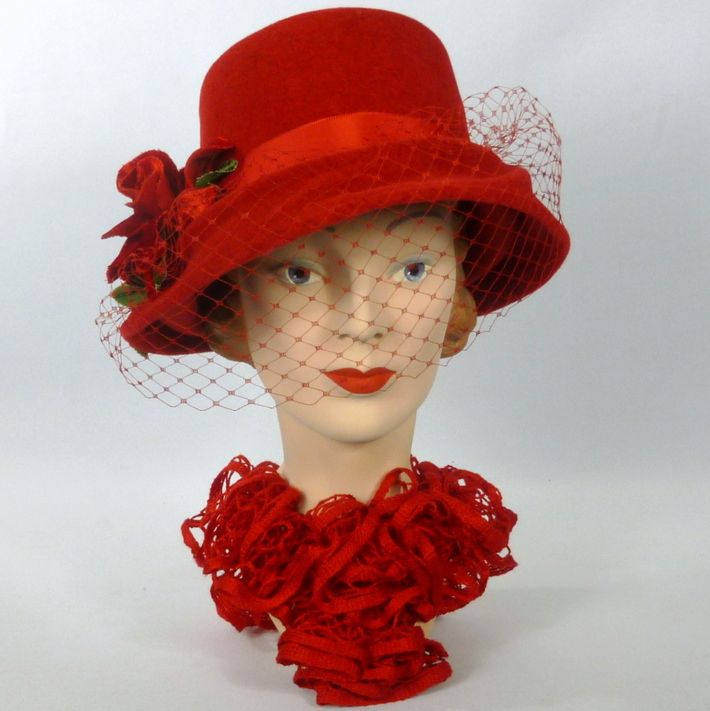 Deep Red Velour Felt Hat - Modern Freeform Cloche Style